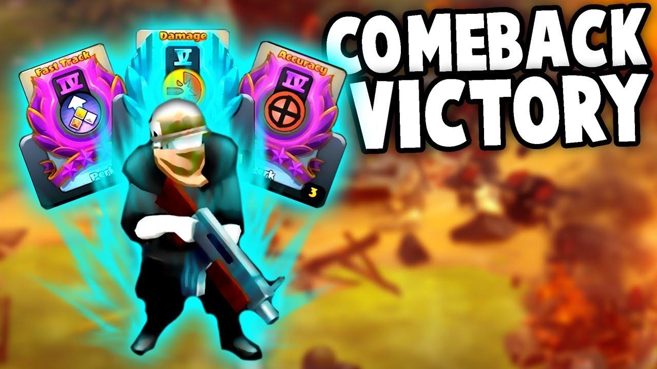 EPIC Comeback!  Unit PERK CARD Upgrades! (Guns Up! Multiplayer Gameplay)