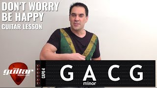 Don't Worry Be Happy guitar lesson with & without capo | Bobby McFerrin