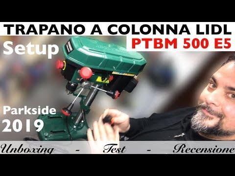 Trapano a colonna LIDL PARKSIDE. 2019. PTBM 500 E5. Laser. Regolazione mandrino e cannotto storto.