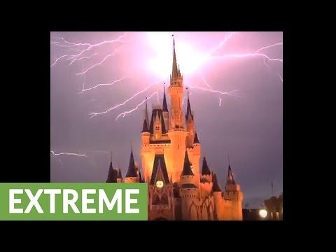 Lightning strikes Cinderella's Castle at Disney World