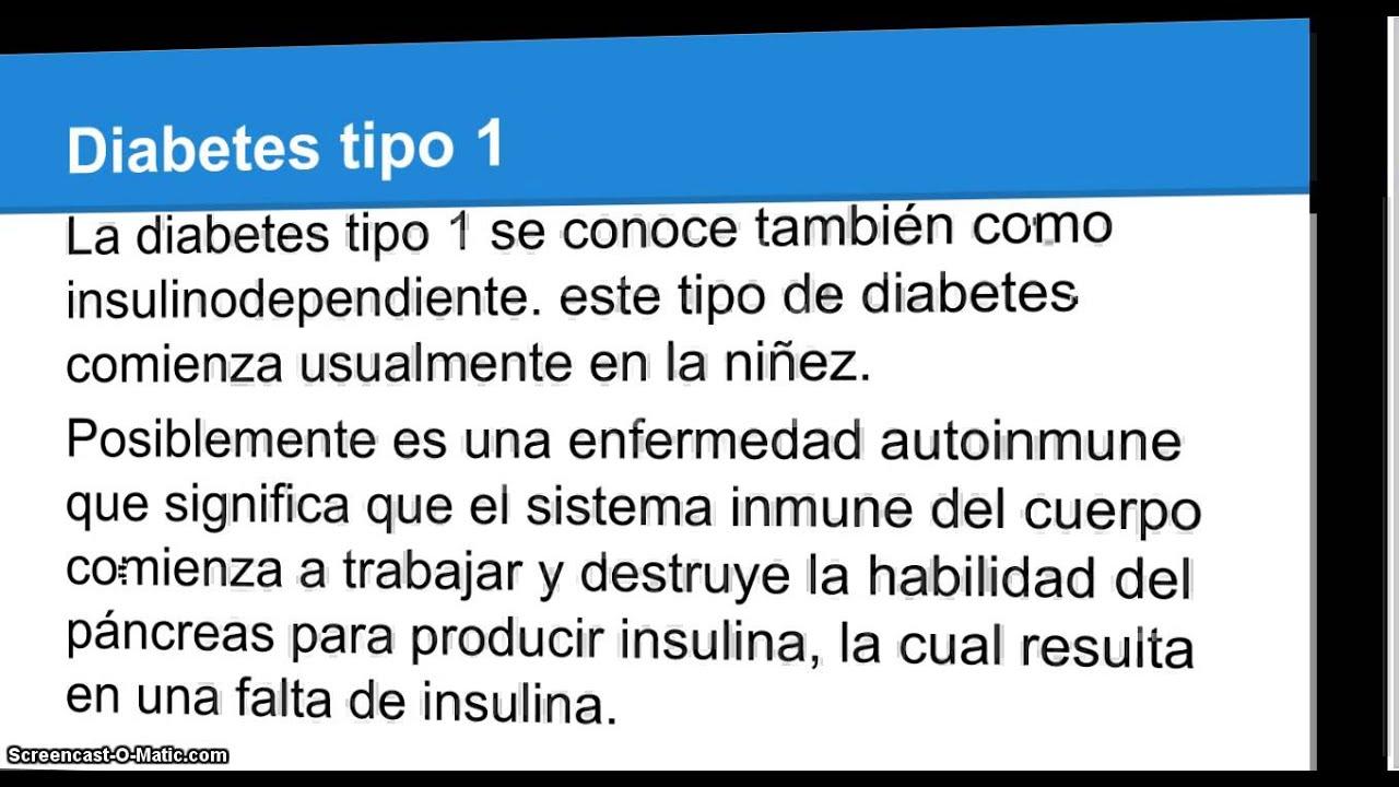 Que es la diabetes tipo 1, tipo 2, la insulina y la