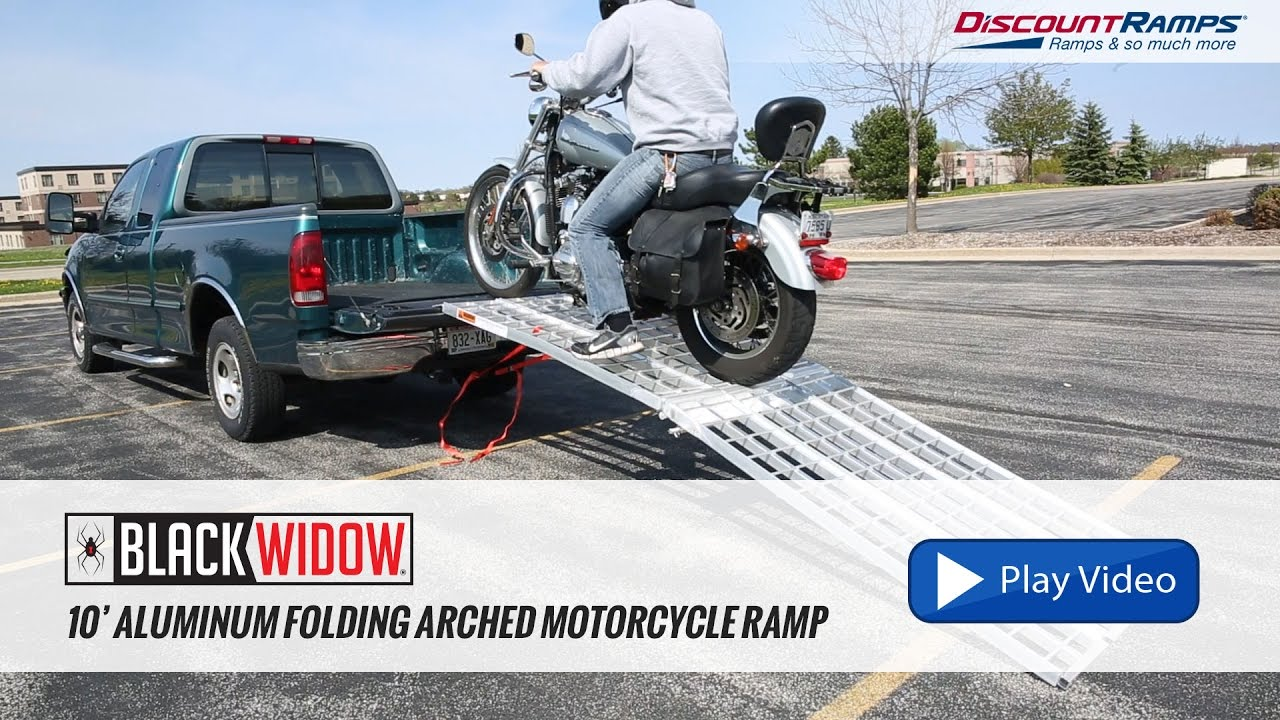 Aluminum Folding Ramps >> Black Widow Aluminum Folding Arched Motorcycle Ramp - 10 ...
