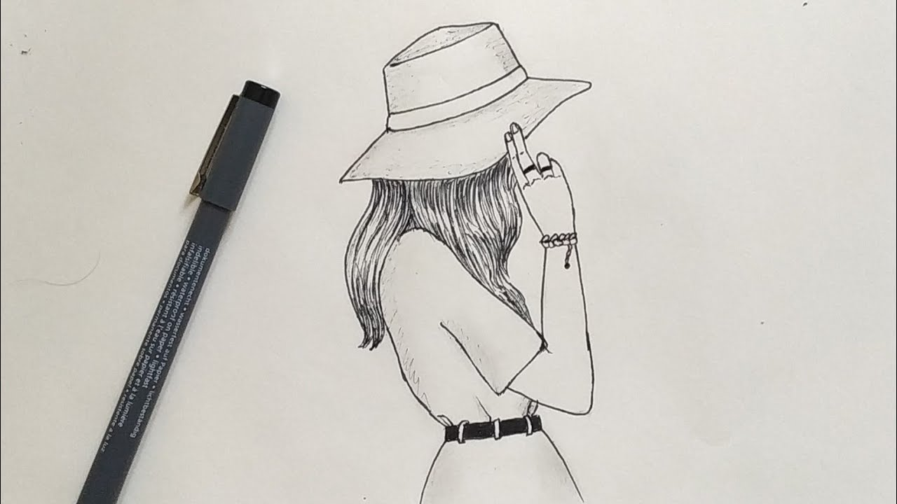 How To Draw A Girl With Hat Easy Step By Step