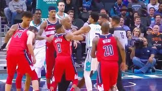 Michael Carter Williams & Tim Frazier Fight! Both Ejected! Wizards vs Hornets January 17, 2018