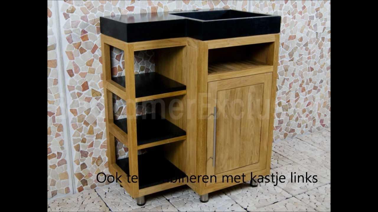 Badkamermeubels uit teakhout en mindyhout youtube - Badkamer meubels ...