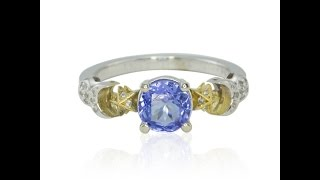 Tanzanite and Pave Set Diamond Earth Moon Sun and Stars Ring LS2721