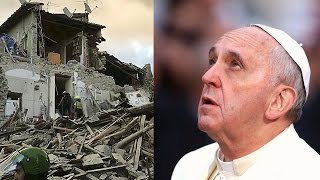 Pope Francis reacts to devastating quake in Italy HD