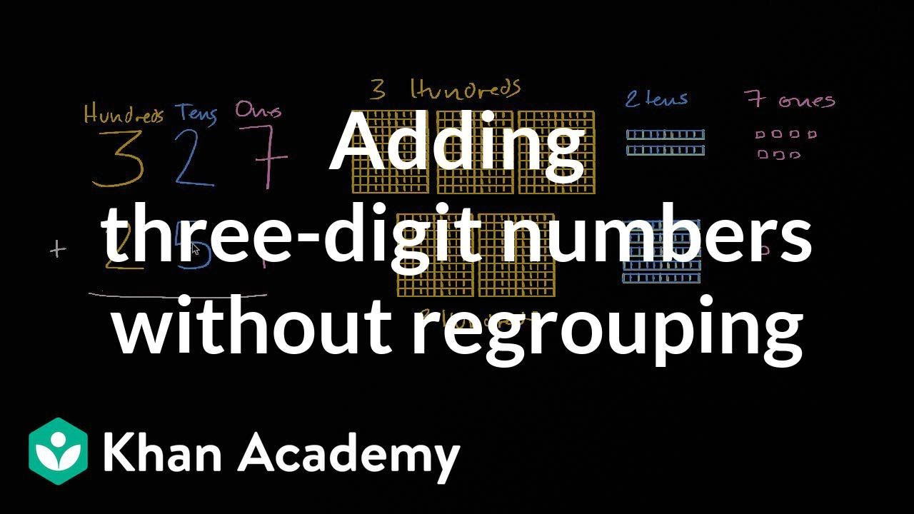 Adding 3-digit numbers (no regrouping)   2nd grade   Khan Academy - YouTube [ 720 x 1280 Pixel ]