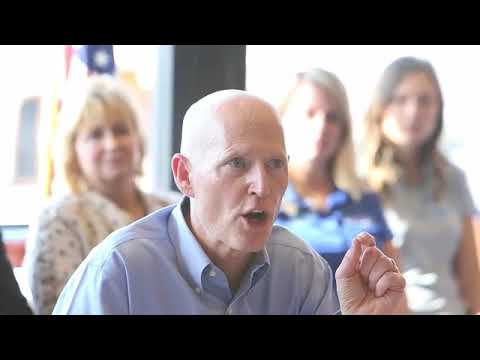 Florida Governor Rick Scott speaks about jobs in Panama City Beach.