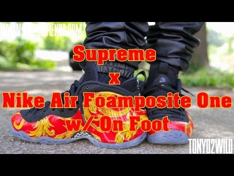 Supreme x Nike Air Foamposite One w/ On Foot