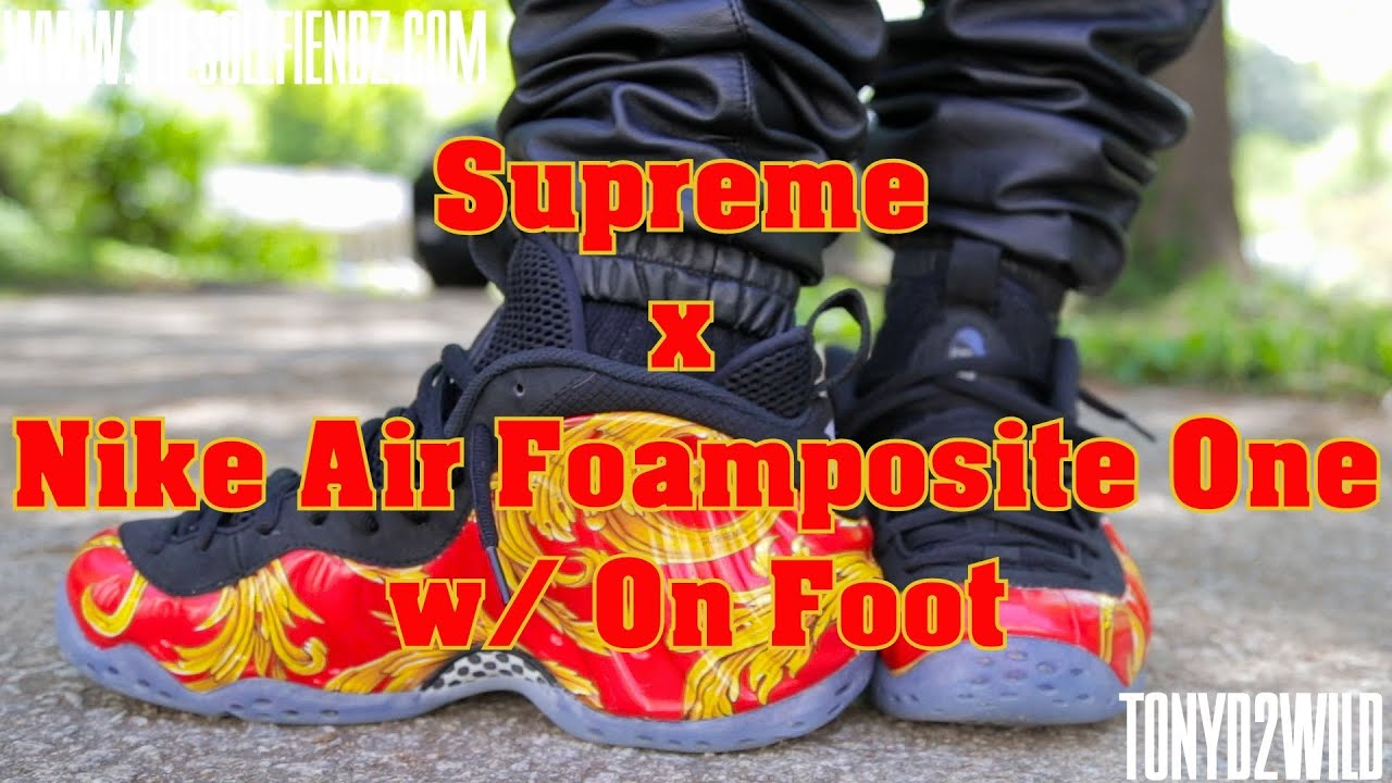 the latest ab717 74c3b Supreme x Nike Air Foamposite One w/ On Foot