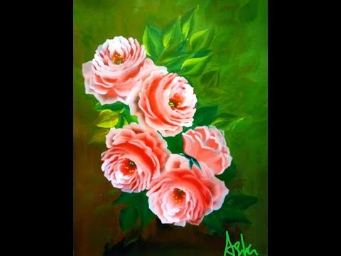 How to paint beautiful roses easily- video ll quick and easy acrylic painting II one stroke