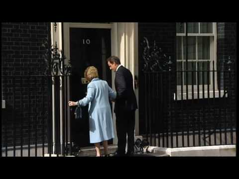 David Cameron welcomes Lady Thatcher to Downing Street