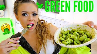 I only ate GREEN food for 24 HOURS Challenge! | Krazyrayray
