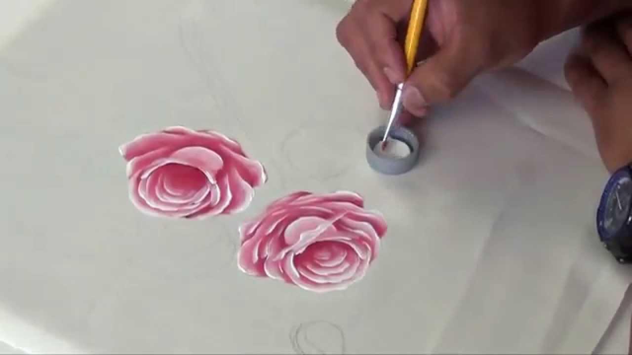 Como pintar rosas rosadas en tela 1 2 youtube - Pintar con acrilicos paso a paso ...