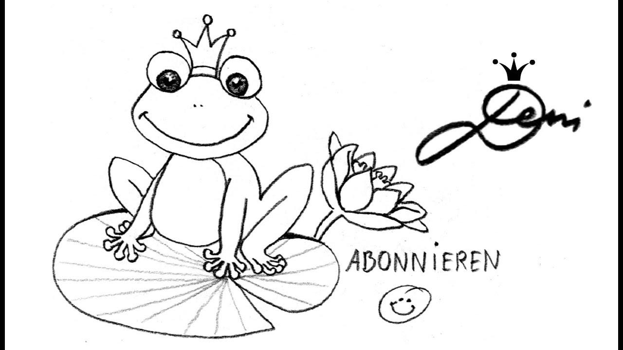 🐸 Frosch schnell zeichnen lernen für Kinder 🐸 how to draw a frog ...