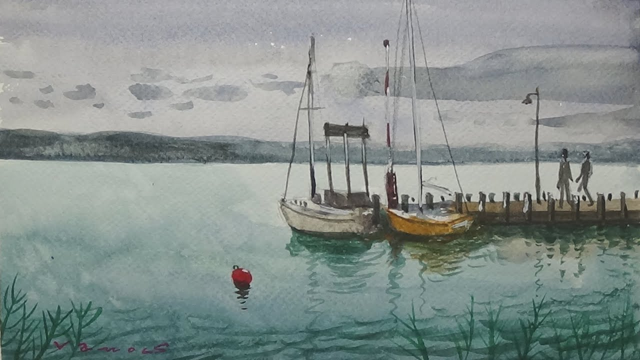 Red Buoy on the Lake Balaton. Watercolor Painting - By Vamos