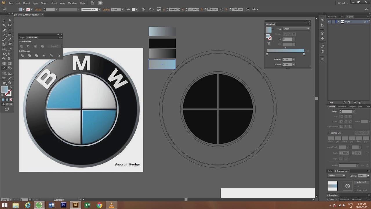 Vẽ Logo BMW giống như hình mẫu bằng Ai