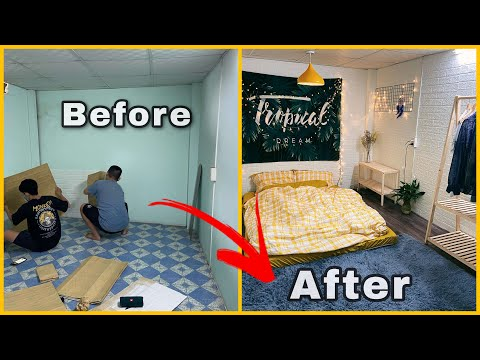 Hướng dẫn làm sàn giả gỗ và decor phòng ngủ chi phí thấp