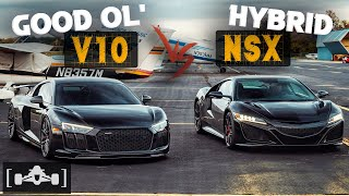 Acura NSX vs. Audi R8 V10 Plus | Hybrid Technology Against Old School Supercar