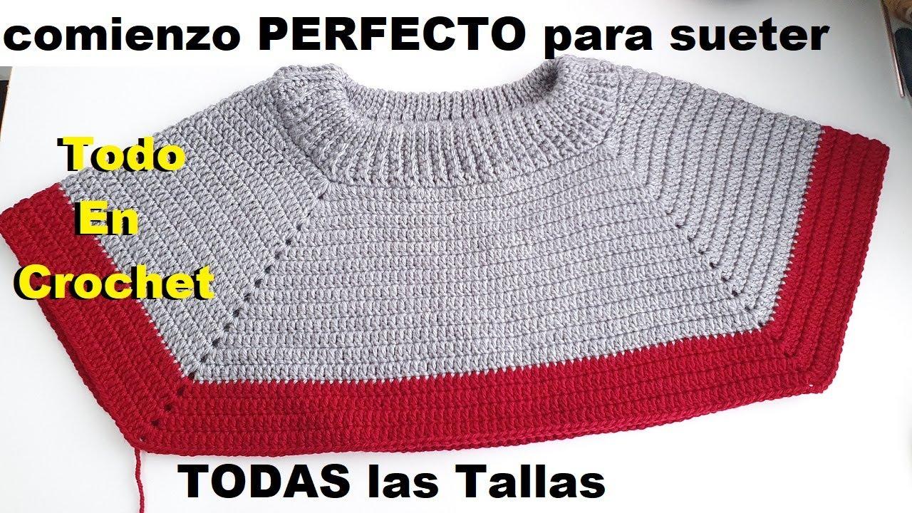 Cuello perfecto para sueter para caballero | Como hacer cuello para sueter para hombre a crochet
