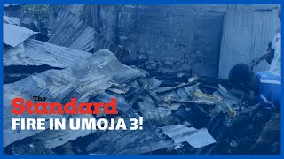 Section of Umoja 3 residents count losses after razing fire destroyed their property