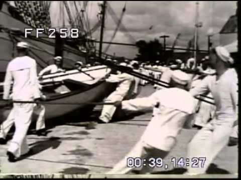 Stock Footage: Merchant Marine Cadet Training WWII 1940s