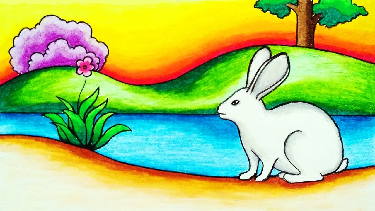 How to Draw Rabbit Scenery Step by Step | Easy Rabbit Scenery Drawing for Beginners