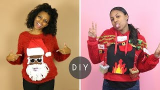 DIY Ugly Christmas Sweaters | Talking Santa & Lit Fireplace