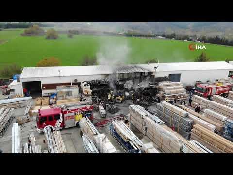 Çatalca'da Fabrika Yangını Havadan Görüntülendi