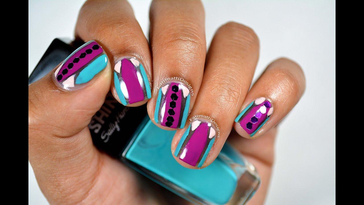 Diy Vibrant Geometric Nail Art With Hexagon Glitter Youtube