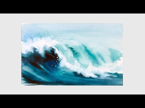 Как рисовать море акварелью поэтапно
