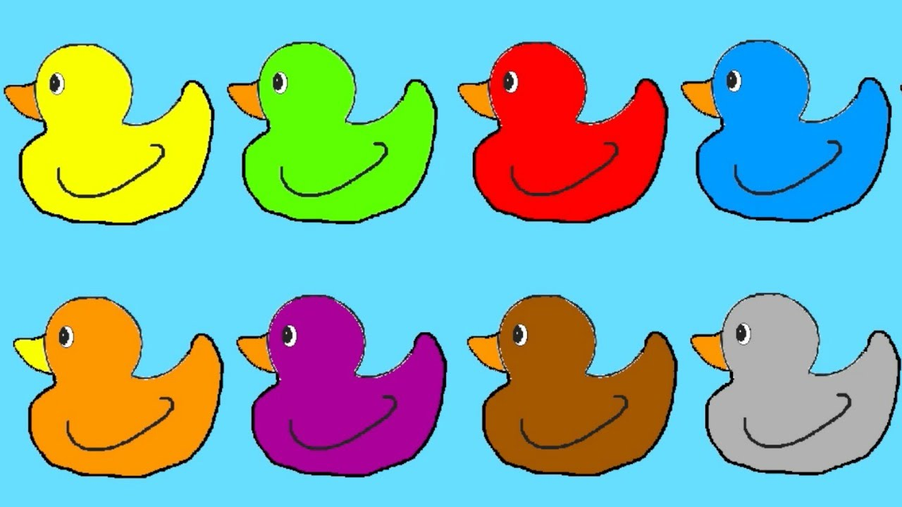 Learn Colours For Children With Ducks Colouring Page - YouTube