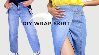 Jeans to DIY Denim Wrap Skirt Upcycle!