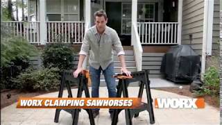 WORX Clamping Sawhorse Pair with Bar Clamps, Built in Shelf