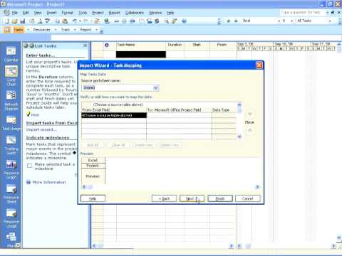 Project 2007 - Project Guide & Importing Tasks From Excel