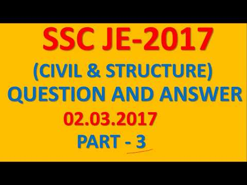 SSC JE CIVIL ENGINEERING 2017 PAPER SOLUTION PART- 3