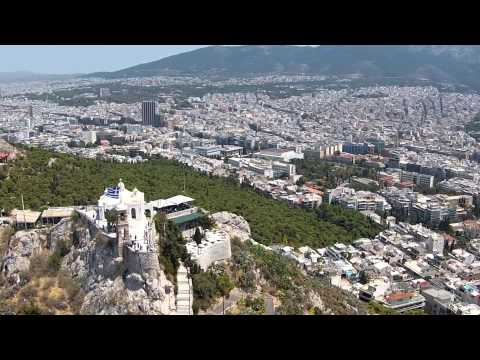 Beautiful places in the world : Greece Mount Lycabettus in Athens Aerial Video