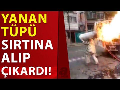 Yanan tüp gazı sırtına alan itfaiyeci kahraman ilan edildi