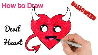 How to Draw Devil Heart Cute and Kawaii for Halloween Drawings