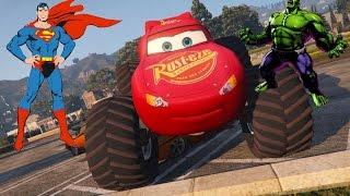 Мультики про Машинки. Молния МАКВИН Монстр Трак СУПЕР МЕН И ХАЛК. Monster Truck for kids