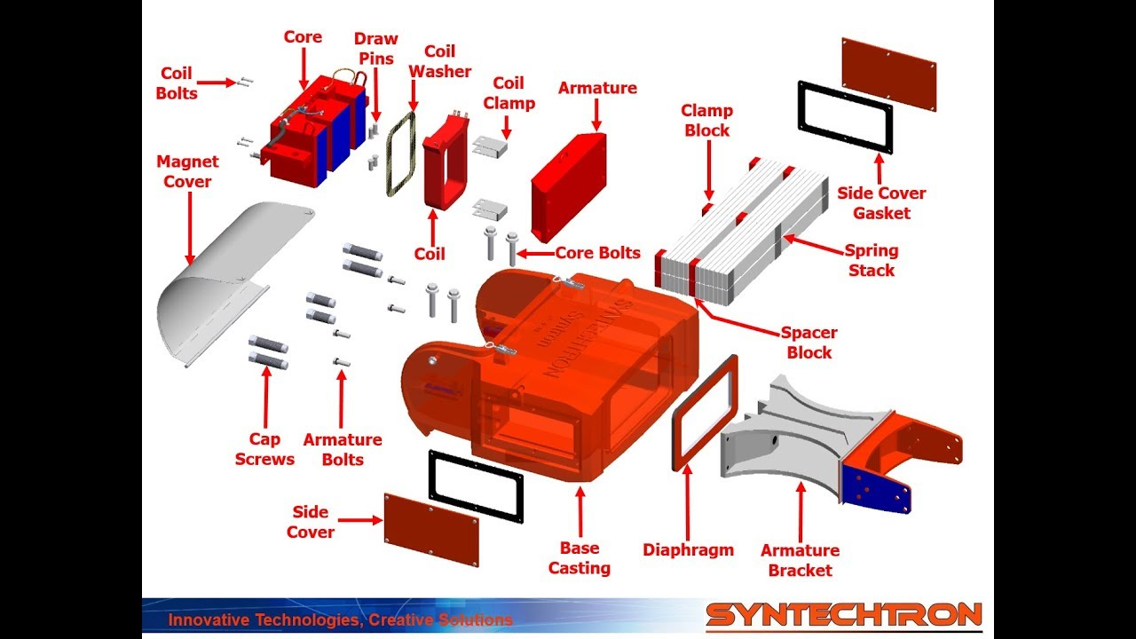 Syntron Electromagnetic Vibratory Feeder Drive Exploded