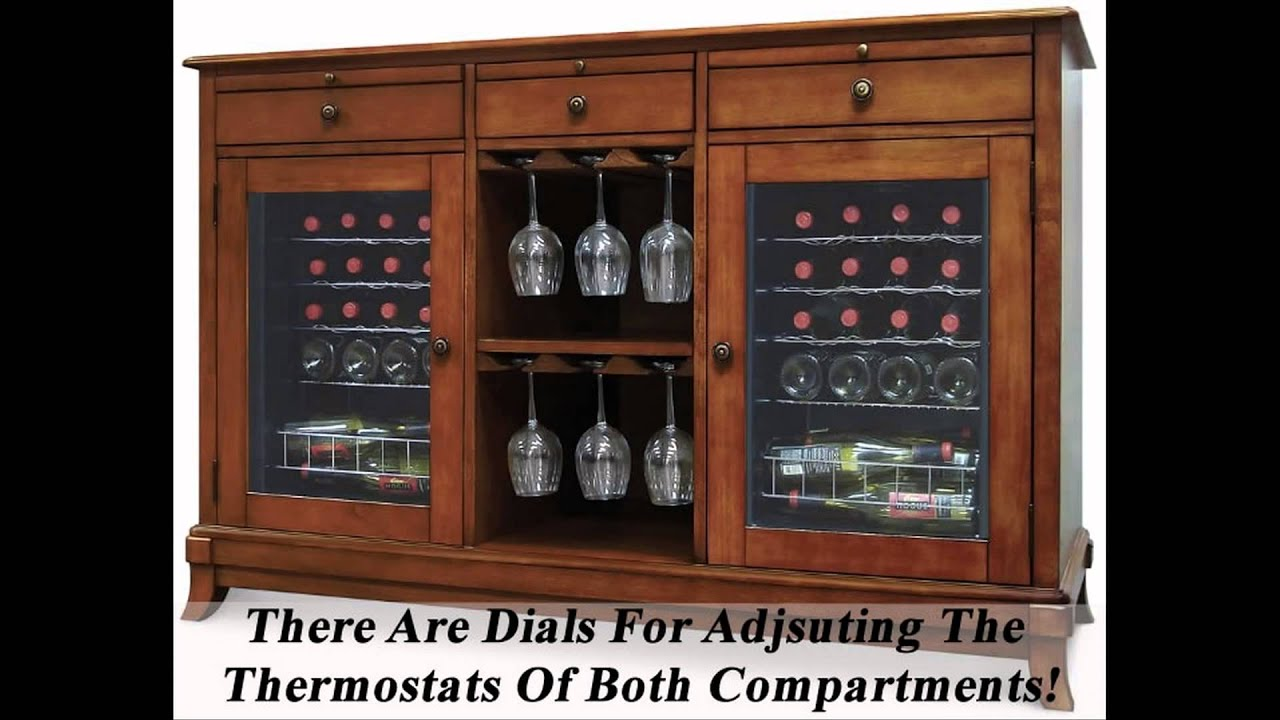 Wine Credenza With Refrigerator   Great Wine Cooler Cabinet Furniture    YouTube