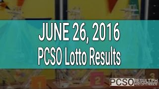 PCSO Lotto Results June 26, 2016 (6/58, 6/49, Swertres & EZ2)