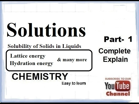 Chemistry Solutions(solubility of solids in liquids) Part-1 CBSE class 12 XII