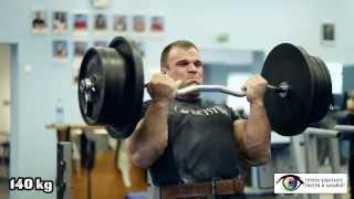 Denis Cyplenkov. Biceps curls. 140 kg x5