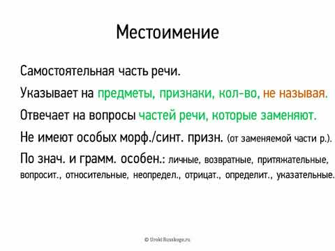 Местоимение (6 класс, видеоурок-презентация)