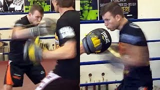 JEFF HORN TRAINING FIRST LOOK, BLASTING THE MITTS; DOES HE HAVE WHAT IT TAKES TO UPSET PACQUIAO?