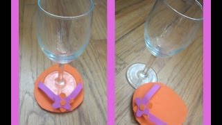 How To Make Diy Flip Flop Wine Glass Coasters Or Holders/ Homemade Wine Glass Coasters-tutorial