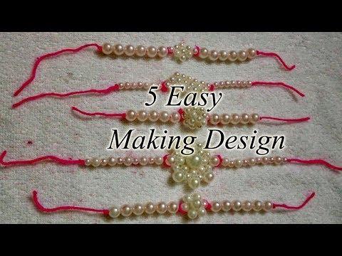 5 Latest Rakhi Design Making at Home | Rakhi Making Using Pearls